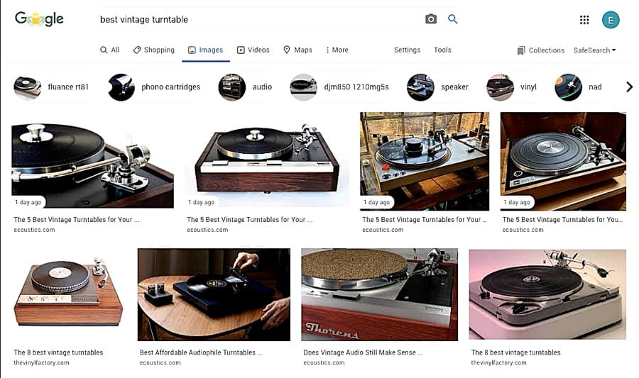 Google Search results for 'Best Vintage Turntable'.