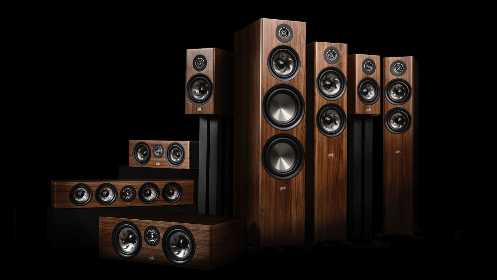 Polk Audio Reserve Series Loudspeakers in walnut woodgrain finish
