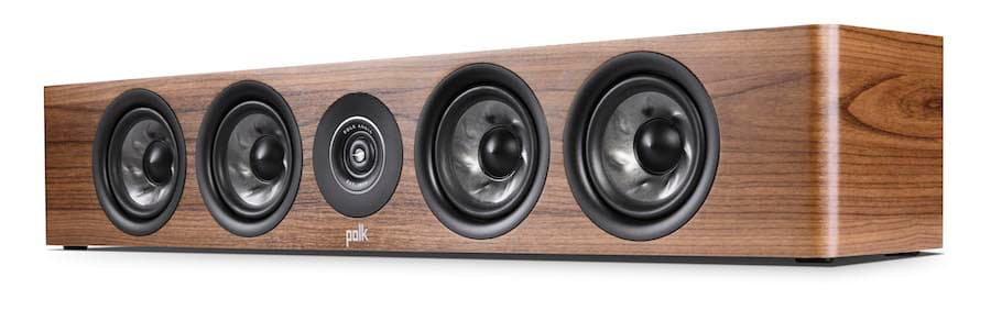 Polk Audio Reserve Series R350 Slim Center Speaker no grille in walnut woodgrain