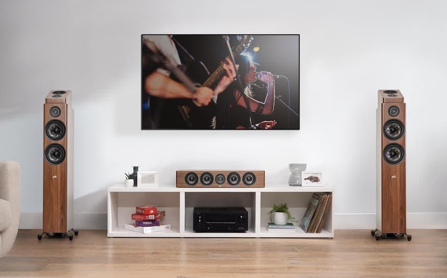 Polk Audio Reserve Series Home Theater R600, R900 and R350 in walnut woodgrain