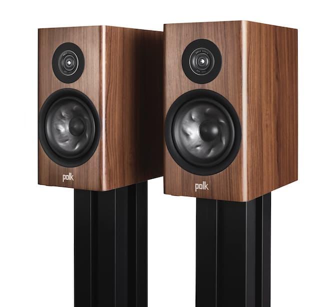 Polk Audio Reserve Series R200 no grille in walnut woodgrain on stands