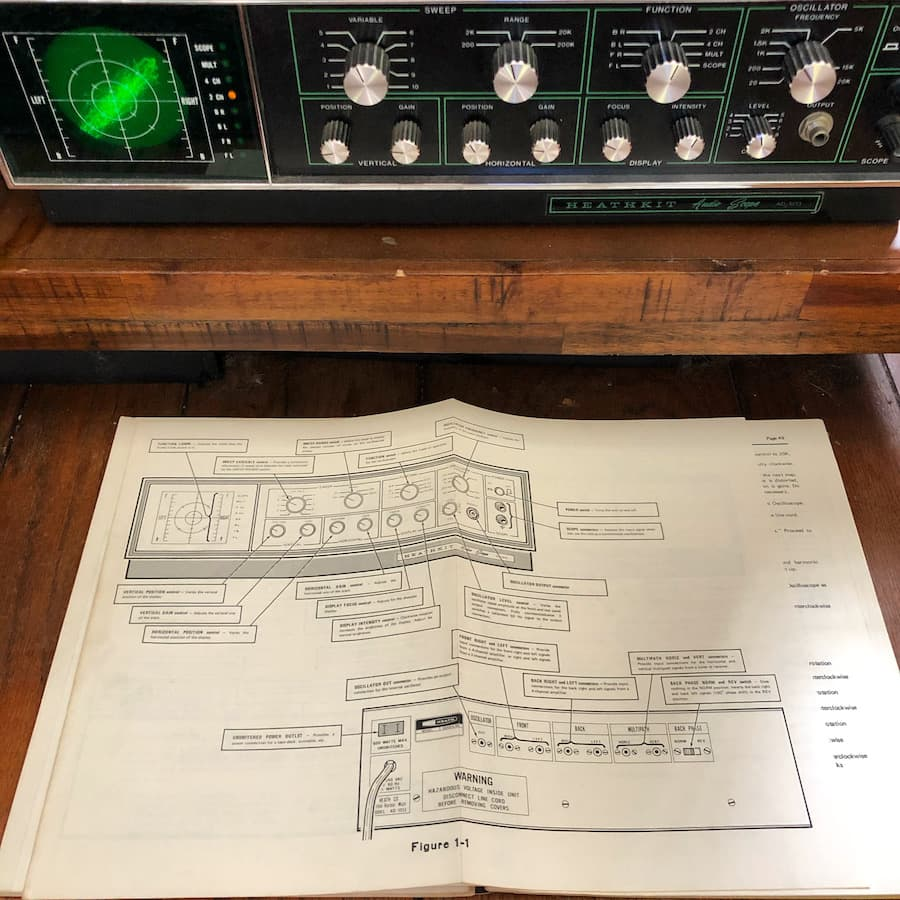 Heathkit Audio Scope Front with instructions