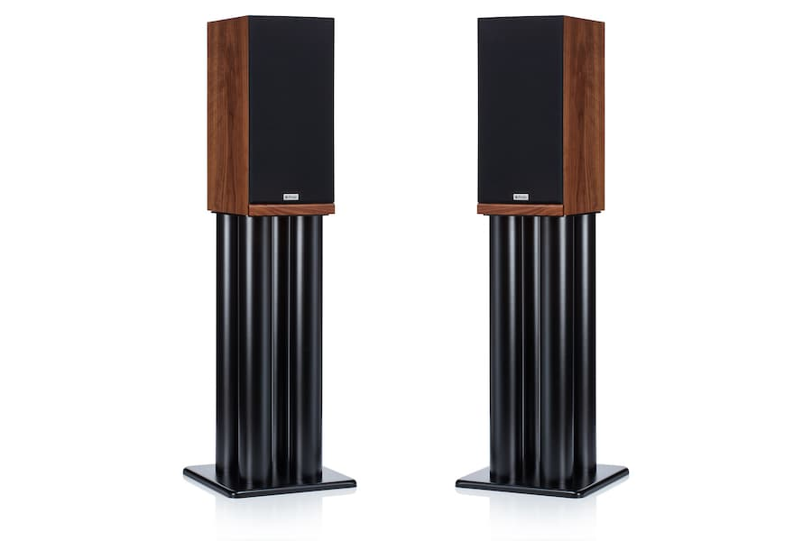 ProAc Response D2R Bookshelf Loudspeakers on stands with grilles