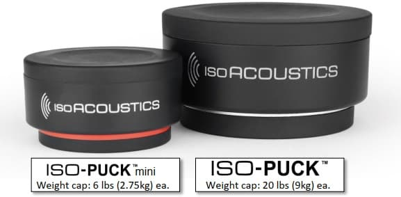 IsoAcoustics ISO-PUCK mini compared to ISO-PUCK