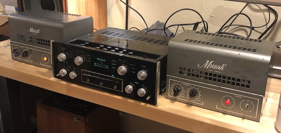 Muzak Model 975A Tube Amplifiers on the test bench