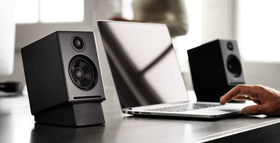 Audioengine A2+ Desktop Speakers on DS1 Stands in Black