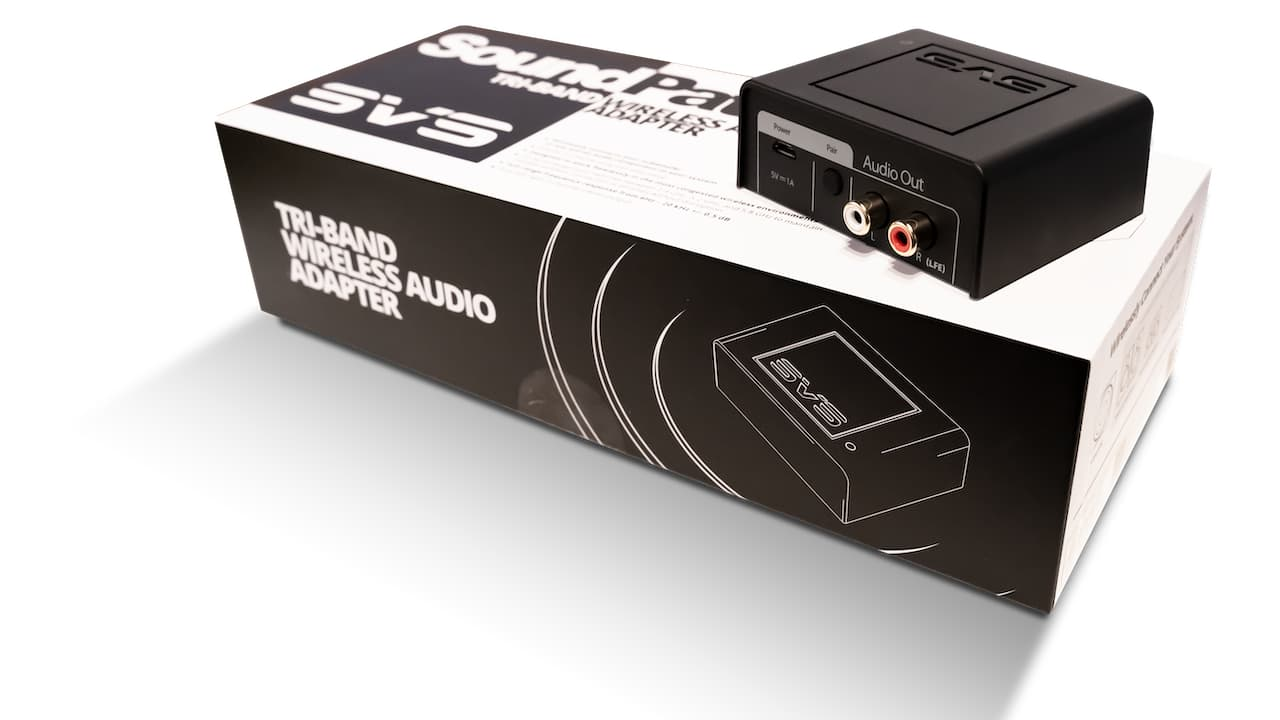 SVS SoundPath Tri-band Wireless Audio Adapter Above on Product Packaging Box