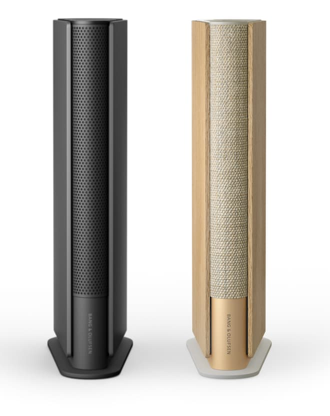 Beosound Emerge Wireless Speakers in Black Anthracite and Gold Tone - Light Oak