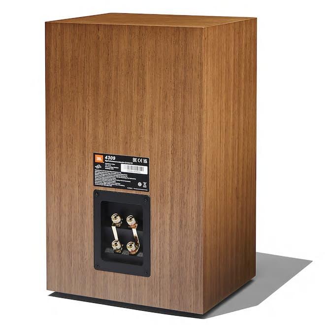 JBL 4309 Studio Monitor Bookshelf Loudspeaker Rear in Walnut