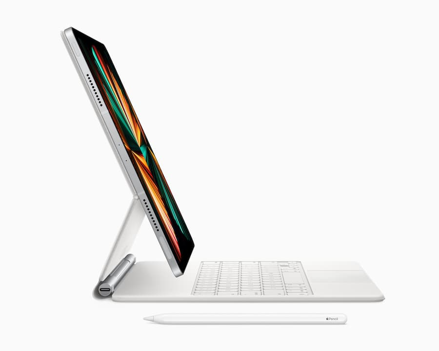Apple iPad Pro 5G 2021 White Side View with Magic Keyboard