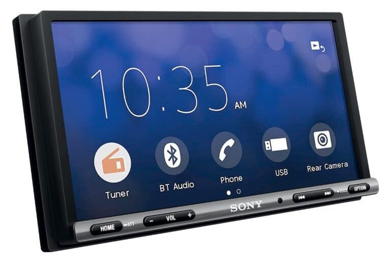 Sony XAV-AX150 In-dash Car Receiver front angle with 6.95-inch display