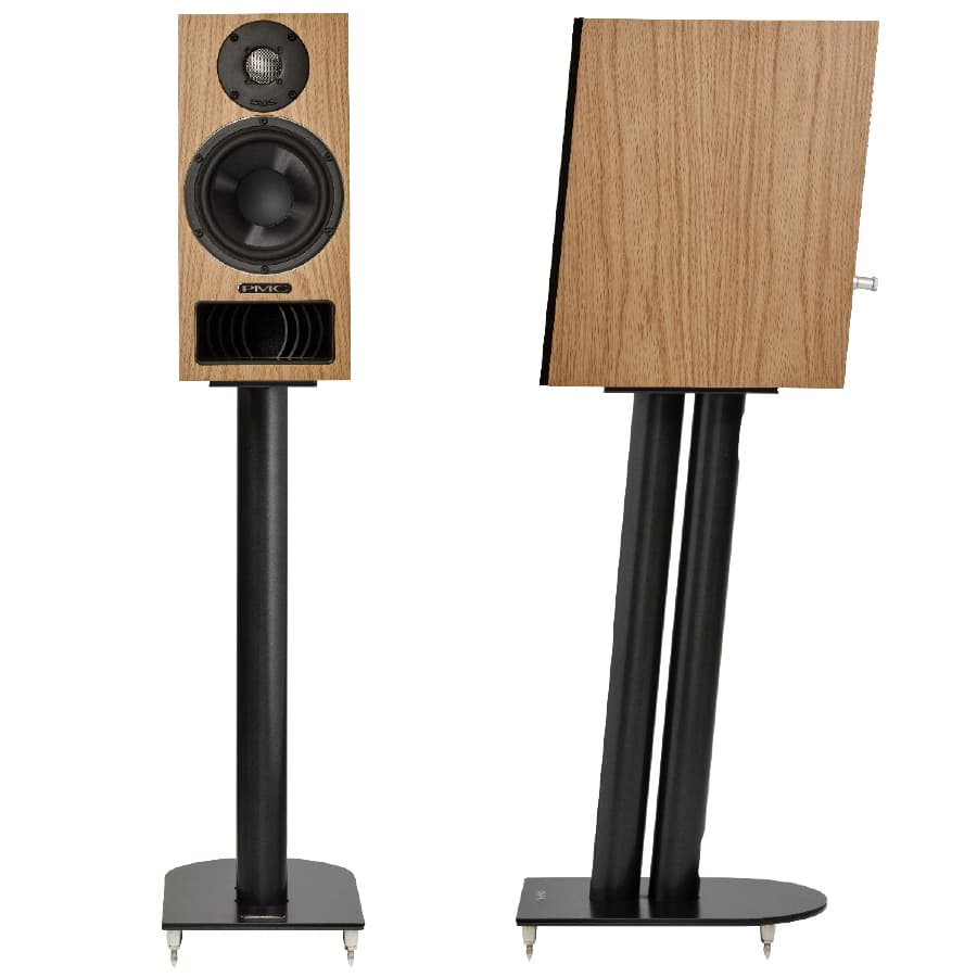 PMC Twenty5 22i Bookshelf Loudspeakers on Stands Front and Side Views