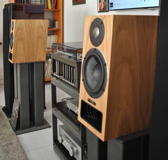 PMC Twenty5 22i Bookshelf Loudspeakers on Stands Angle