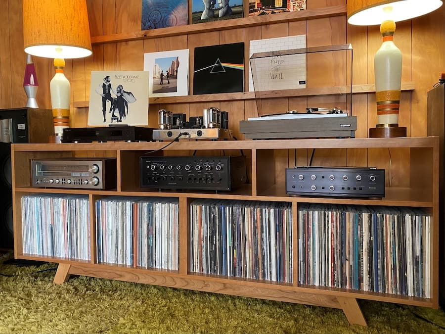 media console with hi-fi equipment and records