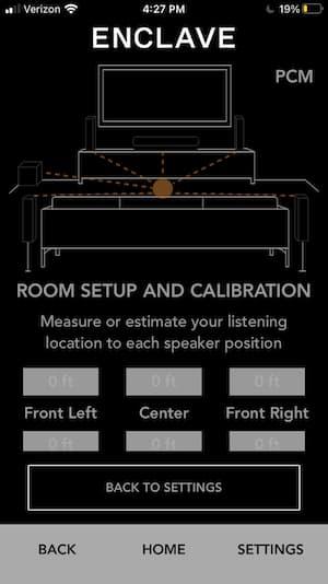 Enclave CineHome Pro App Room Setup