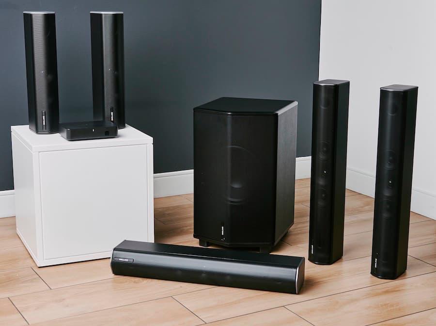 Enclave CineHome Pro THX Wireless Soundbar Speaker System on floor