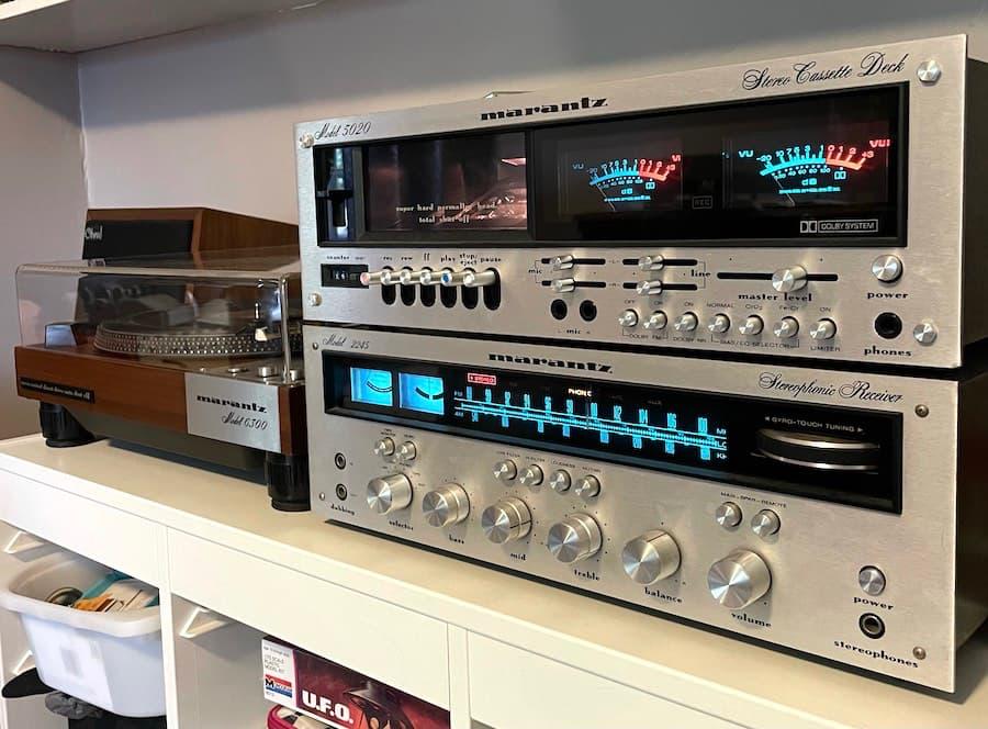 Marantz Model 2245 Stereophonic Receiver, Marantz Model 5020 Cassette Deck and Marantz Model 6300 Turntable