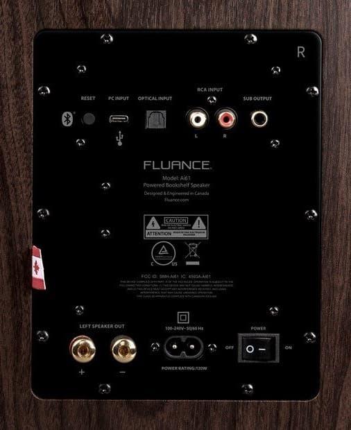 Fluance Ai61 speakers rear panel