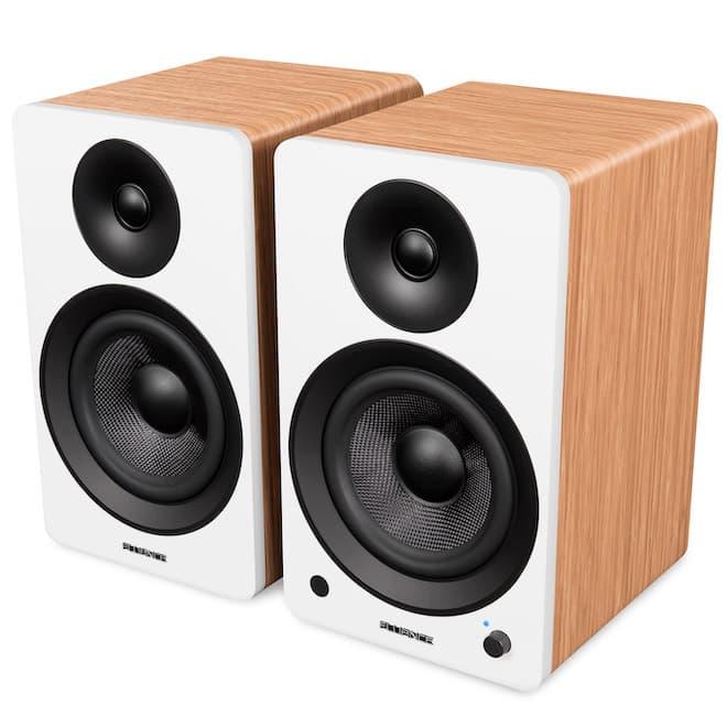 Fluance Ai61 powered bookshelf speakers in white bamboo