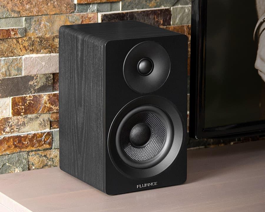 Fluance Ai41 powered bookshelf speakers in black ash