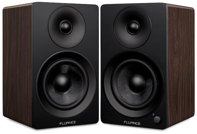 Fluance Ai41 powered bookshelf speakers in black walnut