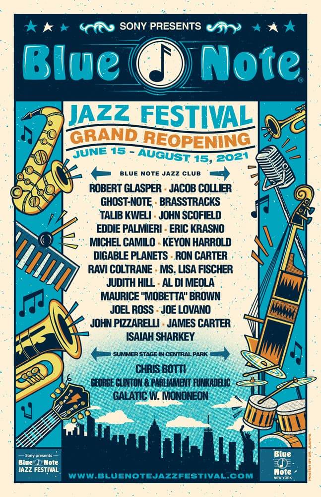 Blue Note Jazz Festival Grand Reopening June 15 - August 15, 2021 Poster