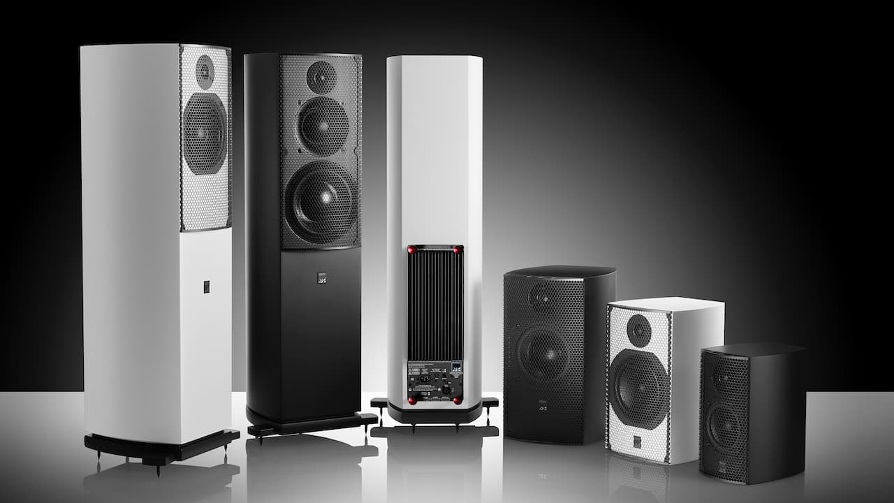 ATC SCM Series Active vs. Passive Loudspeakers in black and white