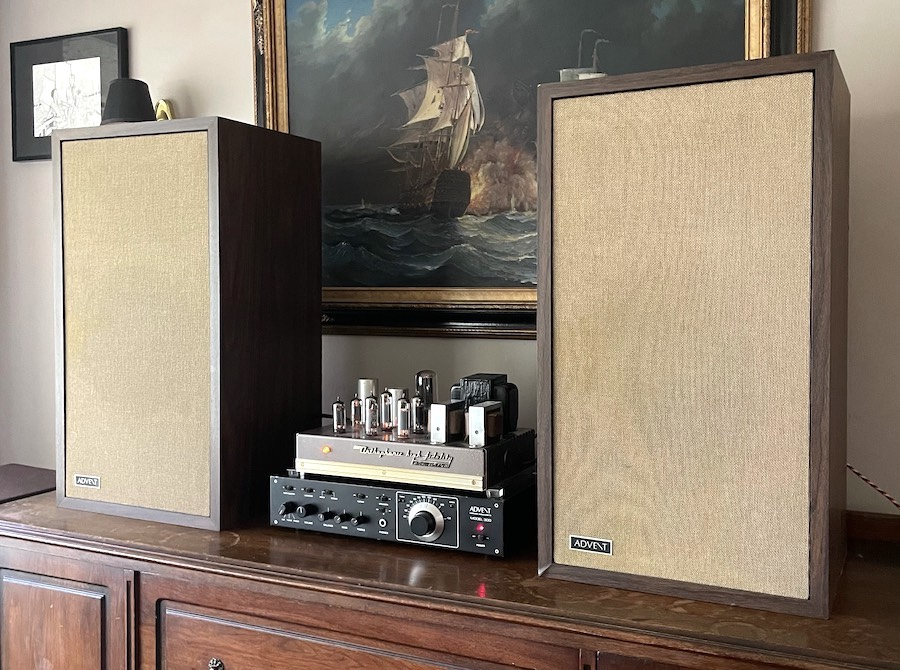 Advent Large Speakers with Advent Model 300 and RCA Victor Tube Amp