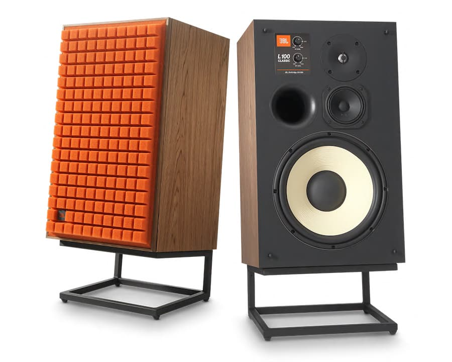 JBL Classic Loudspeakers on stands in orange no grille