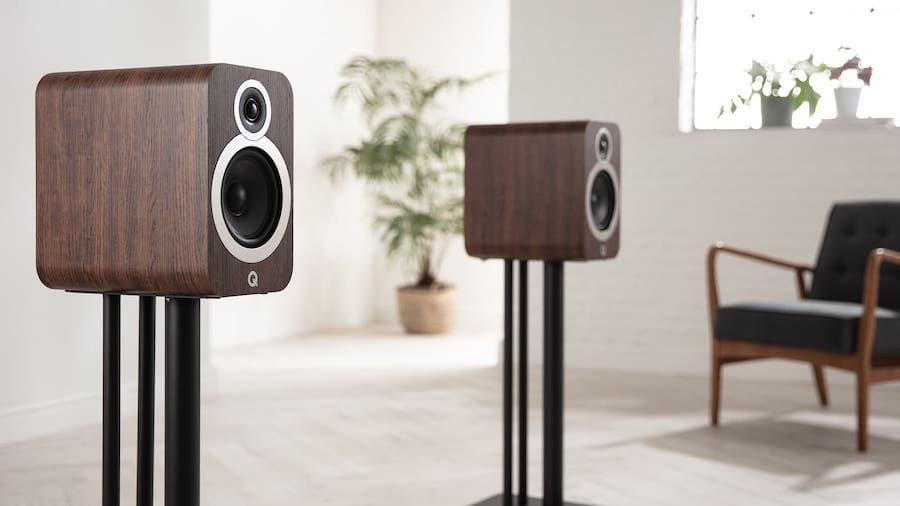 Q Acoustics 3030i Bookshelf Speakers in Walnut on Stands