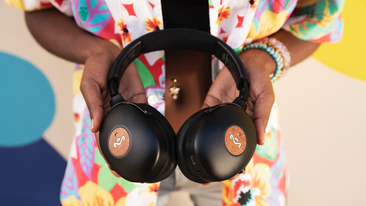 House of Marley Positive Vibration XL ANC Headphones in hands