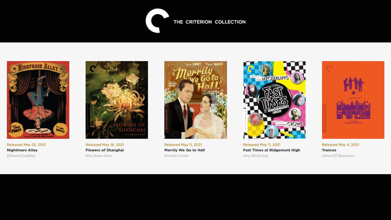 Criterion Collection May 2021 Movie Sale