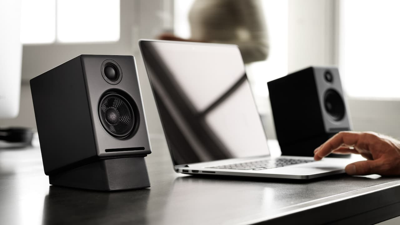 Audioengine A2+ Desktop Speakers on DS1 Stands in Black on DS1 Stands