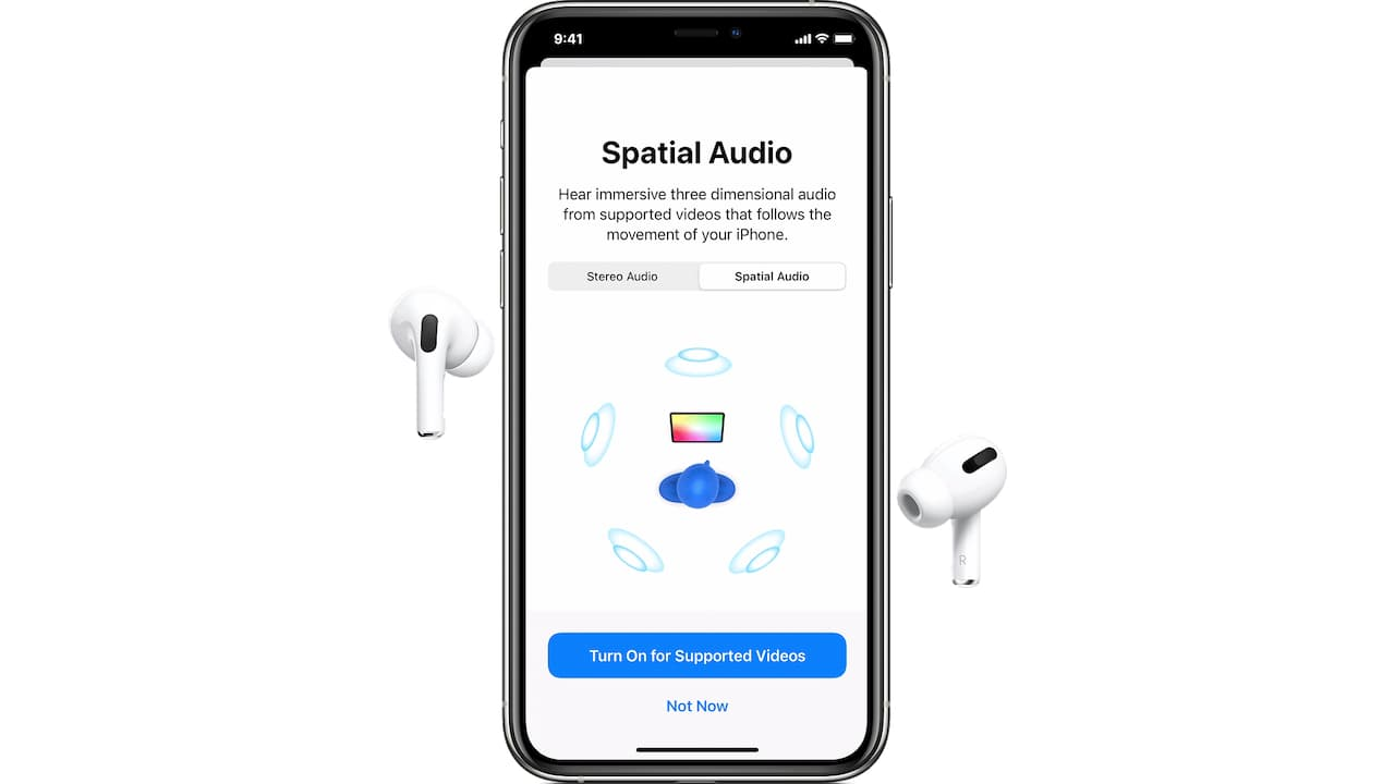 Spatial Audio on iPhone 12 with AirPods Pro