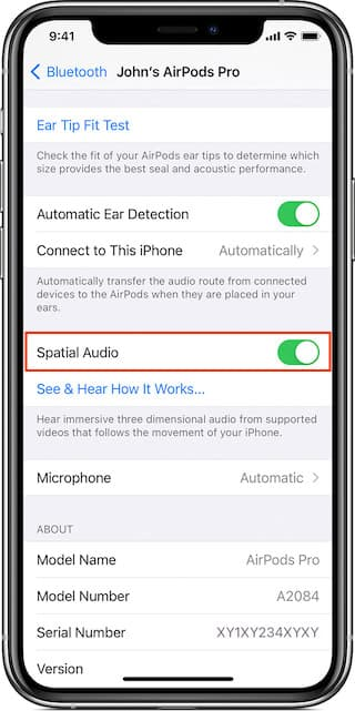 How to enable spatial audio on iPhone