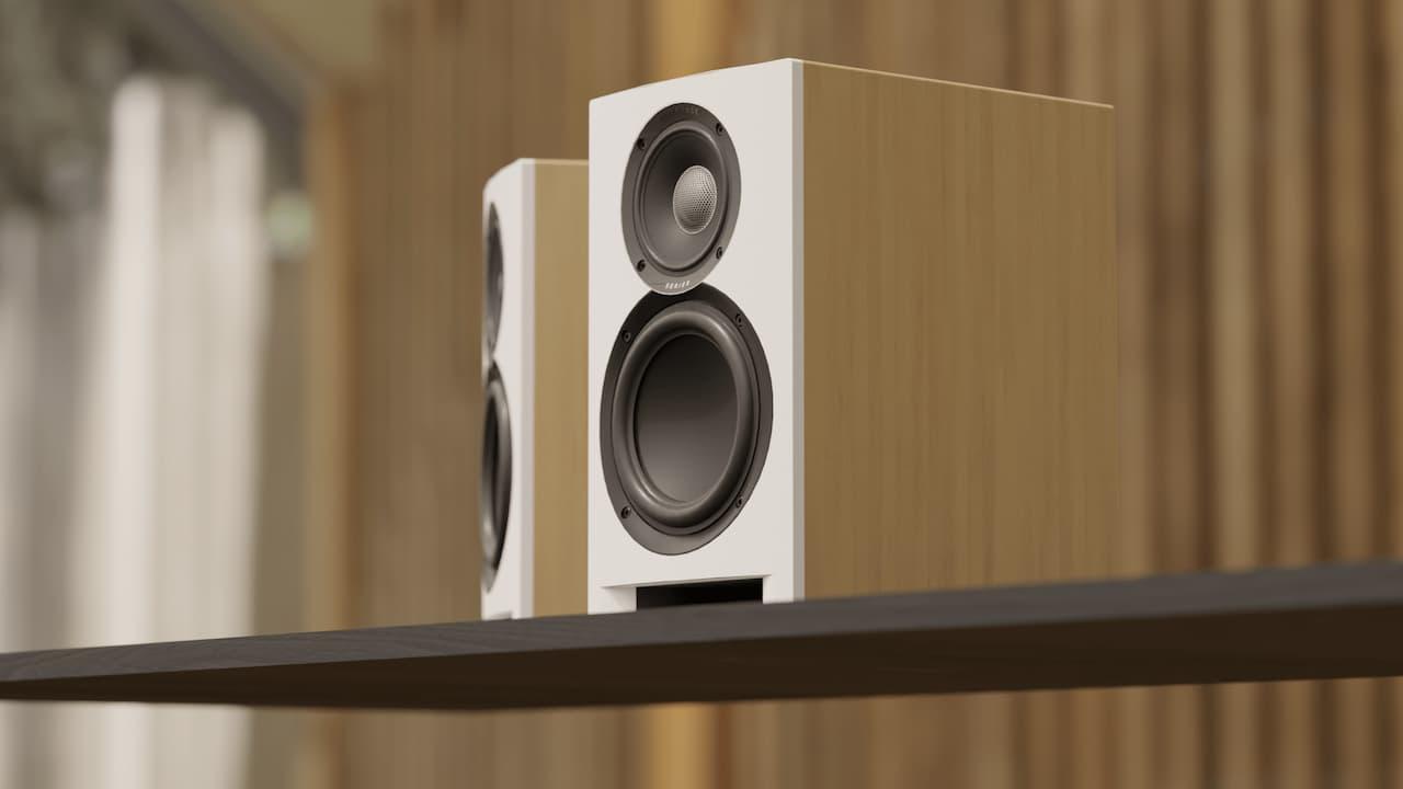 Elac Uni-Fi Reference UBR62 bookshelf loudspeakers in white oak