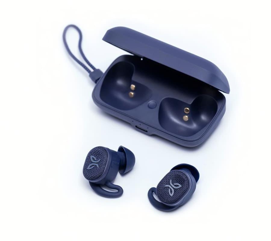 Jaybird Vista2 Wireless Sport Earbuds in Midnight Blue Beside Charging Case
