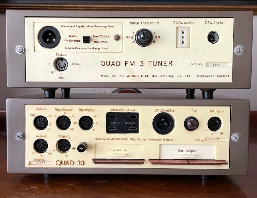 Quad 33 Pre-Amplifier and FM-3 Tuner Back