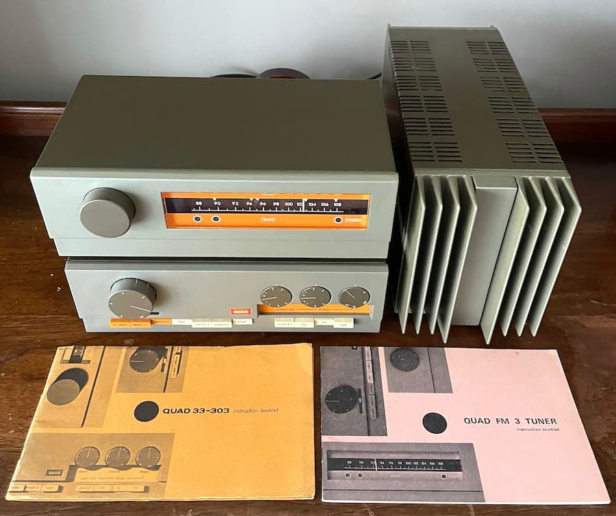 Quad 33 Pre-Amplifier, FM-3 Tuner and 303 Amplifier with manuals