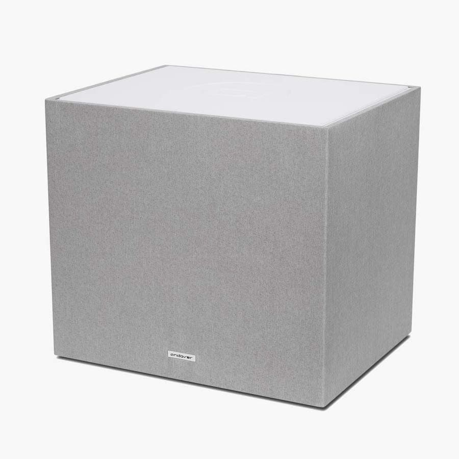 White Andover Audio SpinSub Subwoofer Angle