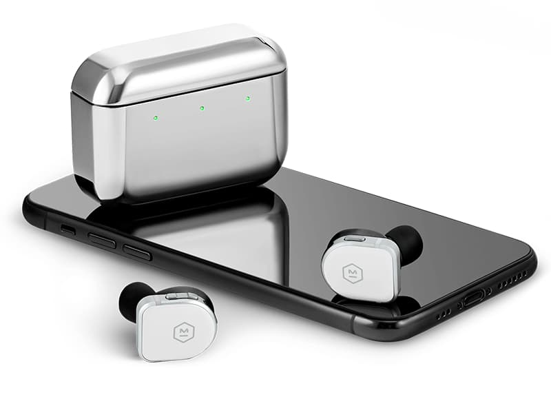 Master & Dynamic MW08 Wireless ANC Earphones with Charging Case atop phone in White/Silver