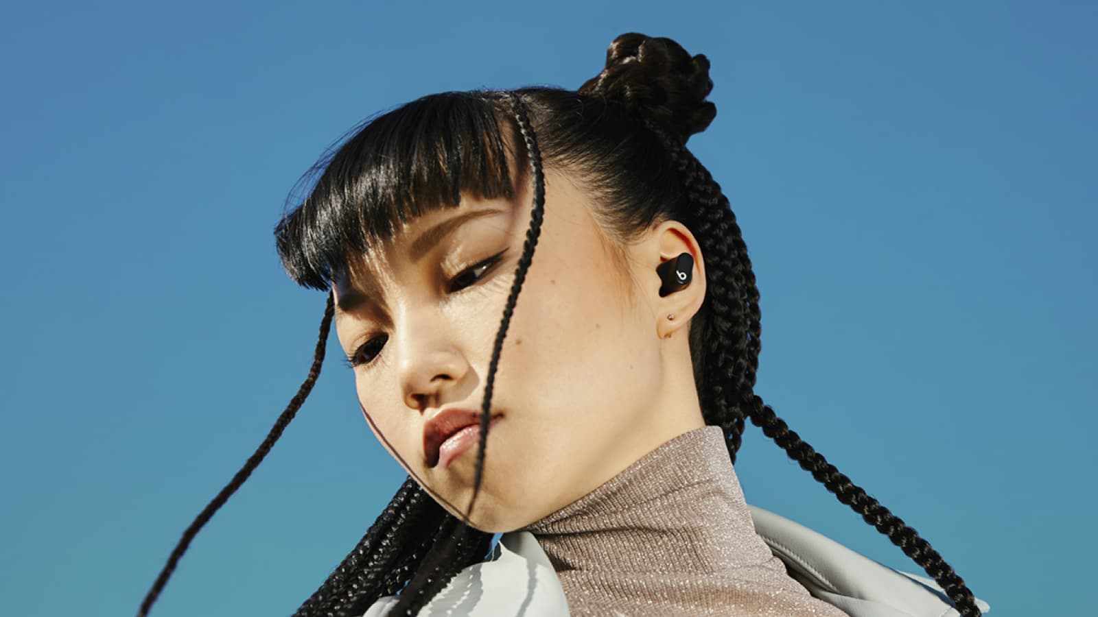 Black Beats Studio Buds Woman Lifestyle
