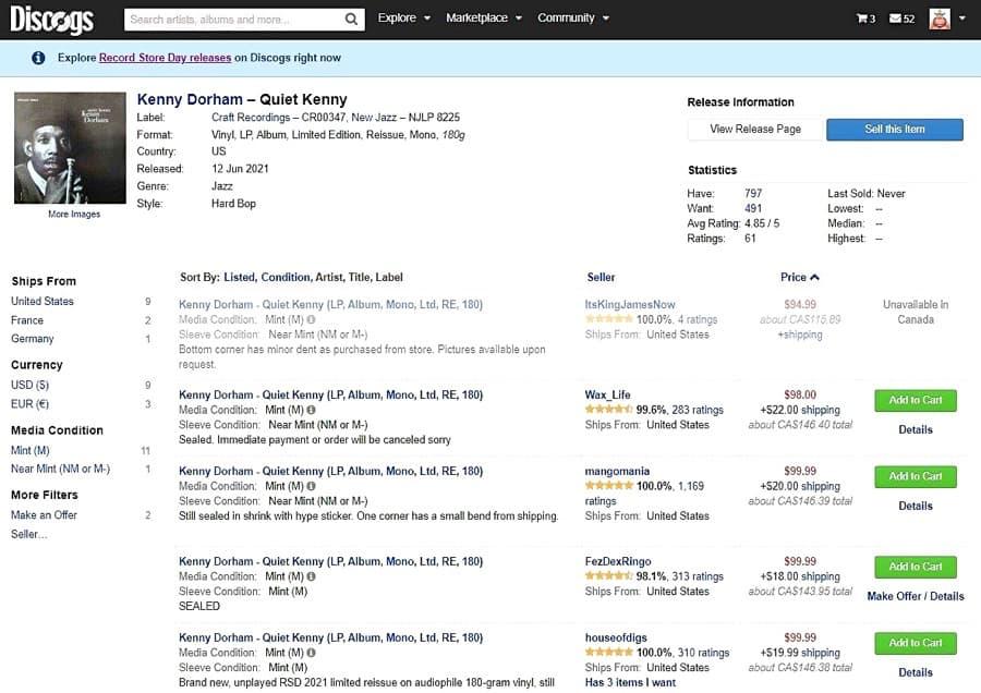 Discogs search: Kenny Dorham - Quiet Kenny
