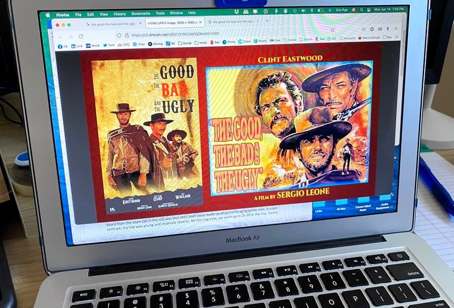 The Good, The Bad and The Ugly Movie Poster on MacBook Screen