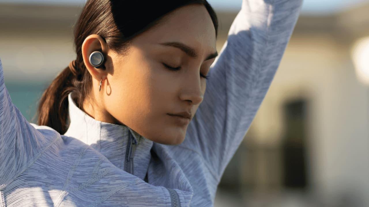 Cleer Ally Plus Earphones on Woman Lifestyle