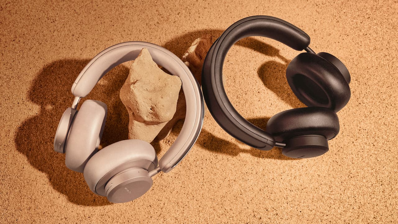 Urbanista Los Angeles Wireless Headphones in sand gold and black in sun