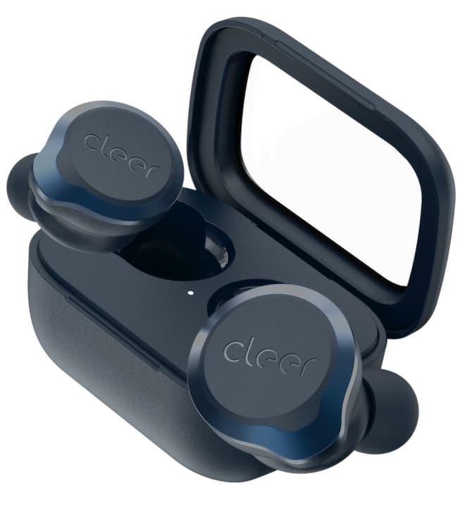 Cleer Ally Plus II Wireless Earphones atop Charging Case Midnight Blue