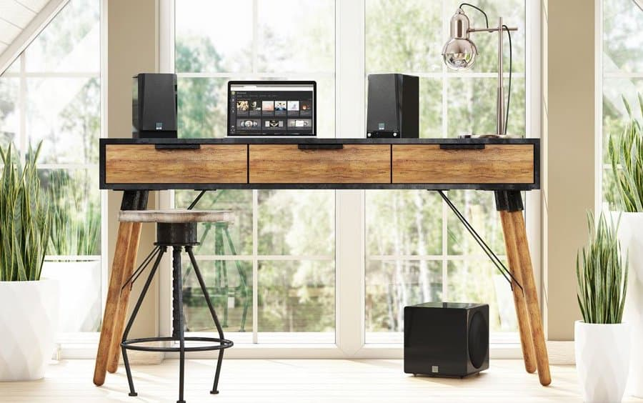 SVS Prime 2.1 Speakers with Wireless 3000 Micro Subwoofer with MacBook Lifestyle