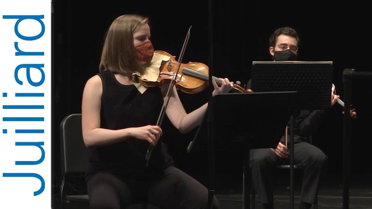 Violinists performing at Julliard415 Concert