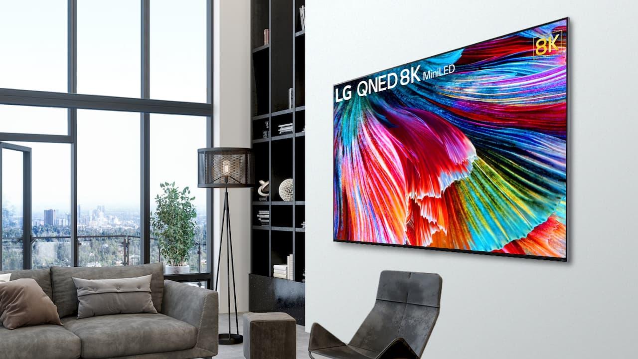 LG Mini LED QNED 86-inch 8K TV on Wall